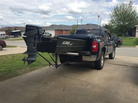 jon boat in truck bed made a trailering system for my truck tinboats net