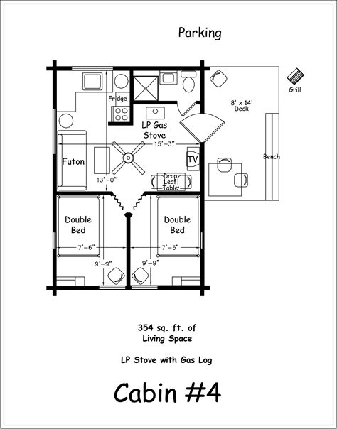 Cabin Floorplan 2 Bedroom Cabin Floor Plans
