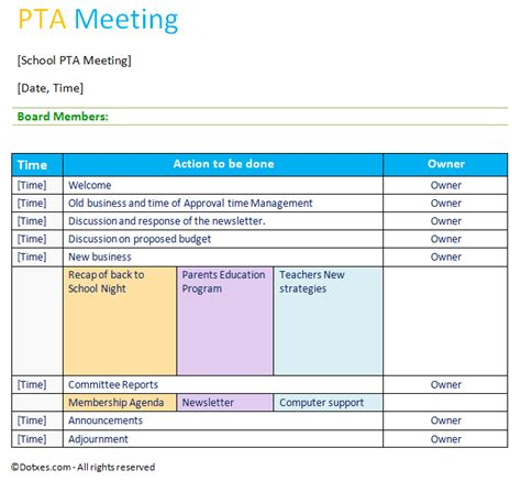 Pta Agenda Template Table Layout Dotxes How To Run A Meeting Template