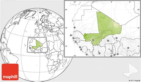physical map of mali physical location map of mali blank outside