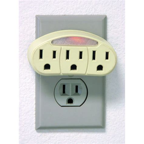 Pack Of 2 Three Outlet Adapter With Light Lights Outlet