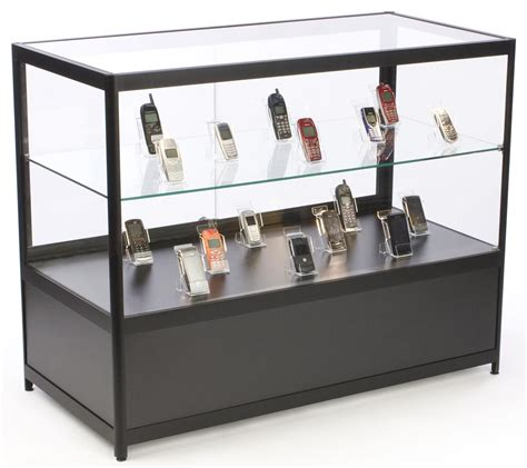 merchandise display case commercial retail counters glass with locking black case