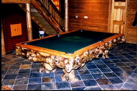 rustic billiards log pool tables