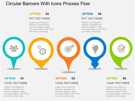 design template flow powerpoint circular banners with icons process flow flat powerpoint