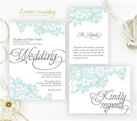 Mint Green Wedding Invitation Kits   LemonWedding