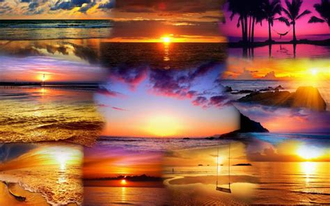 hd collage  beach sunsets wallpaper