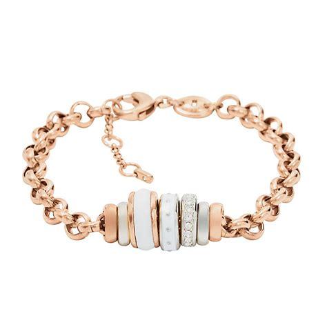 fossil beaded bracelet fossil gold tone beaded bracelet ernest jones