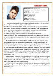 biography justin bieber english english worksheets justin bieber biography