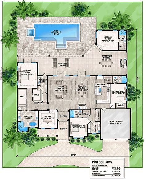 house plans with bonus room plan 86017bw florida house plan with detached bonus room florida house plans