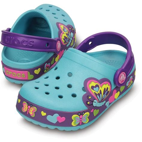 Light Up Crocs by Crocs Crocslights Butterfly Clog Aqua Neon Purple