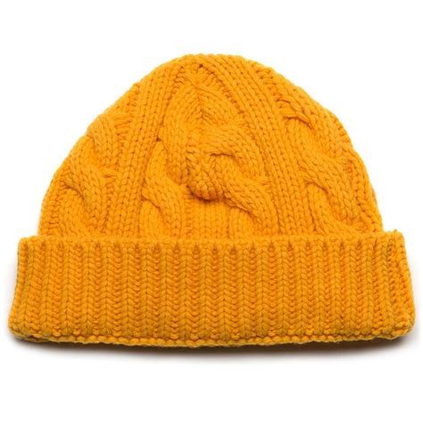 yellow knit hat oliver spencer yellow wool cable knit hat in yellow for
