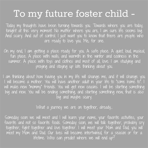 up letter quotes an open letter to my future foster children fostercare