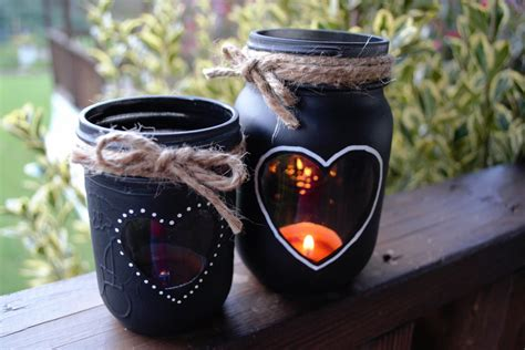 diy chalkboard jar candle centerpiece chalkboard jar candle holders hearts and twine