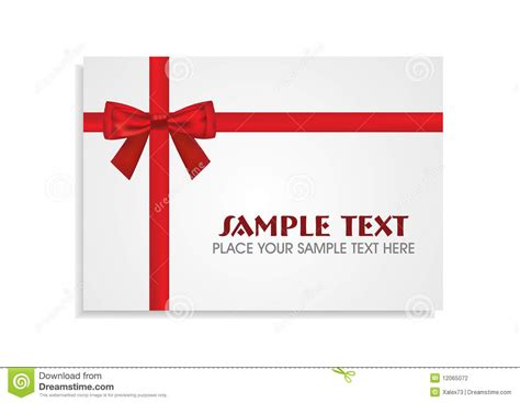 Stock Gift Card - red bow on the white gift card stock illustration image 12065072