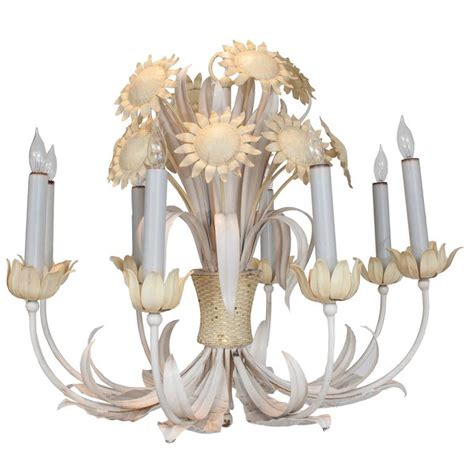 White Painted Chandelier White And Yellow Painted Tole Chandelier With Sun Flower Decoration For Sale At 1stdibs