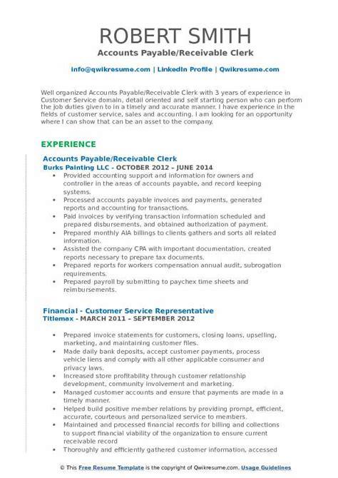 Accounts Payable Resume Pdf by Accounts Payable Receivable Clerk Resume Sles Qwikresume