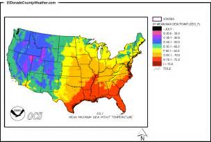 United states yearly annual and monthly mean maximum dew point