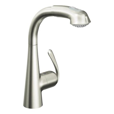 grohe kitchen faucets ladylux shop grohe ladylux plus super steel 1 handle pull out kitchen faucet at lowes com