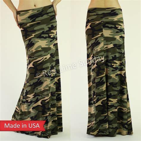 new green camouflage army print fold waist
