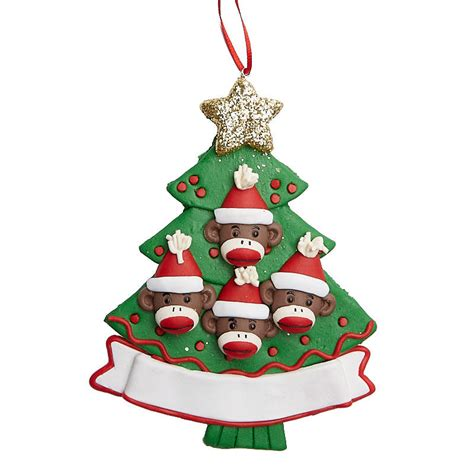 monkey family personalizable christmas tree ornament