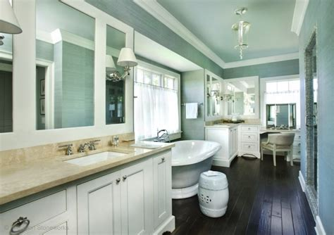 blue bathroom ceiling blue grasscloth wallpaper transitional bathroom