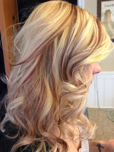 low light hair foiling placements blonde and red copper slices hair foils nails make up