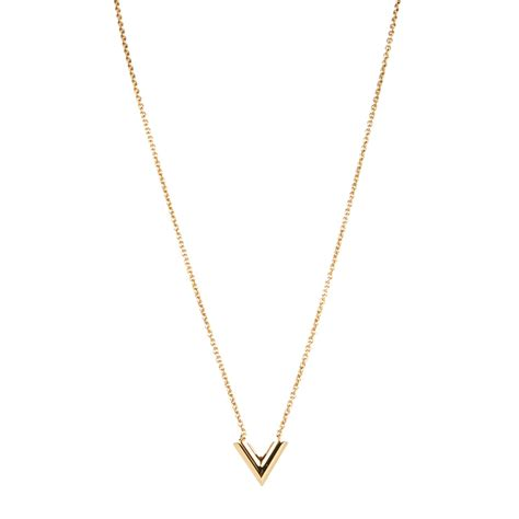 louis vuitton essential v necklace gold 132385