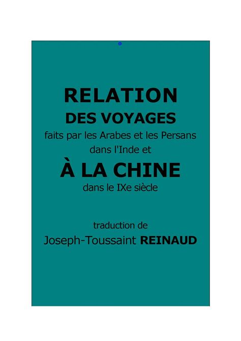 Teabag From Relations De Voyages by Calam 233 O Reinaud J T Relation Des Voyages 224 La Chine