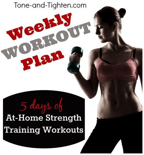 weekly workout plan at home strength fitness
