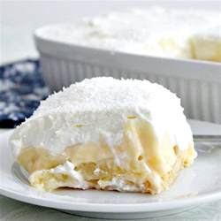 Dreamy coconut and pineapple dessert layers of creamy smoot