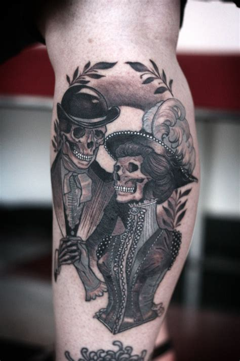 badass couple tattoos day of the dead