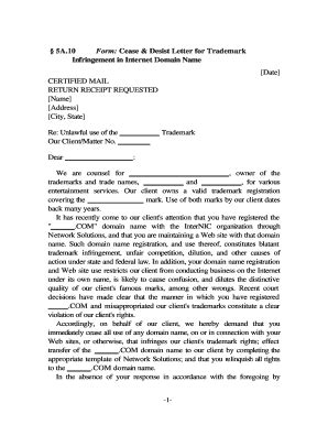 Cease And Desist Template Forms Fillable Printable Trademark Infringement Cease And Desist Letter Template