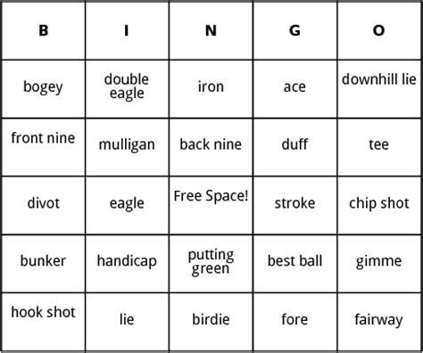 free mulligan card template golf terms bingo by bingo card template