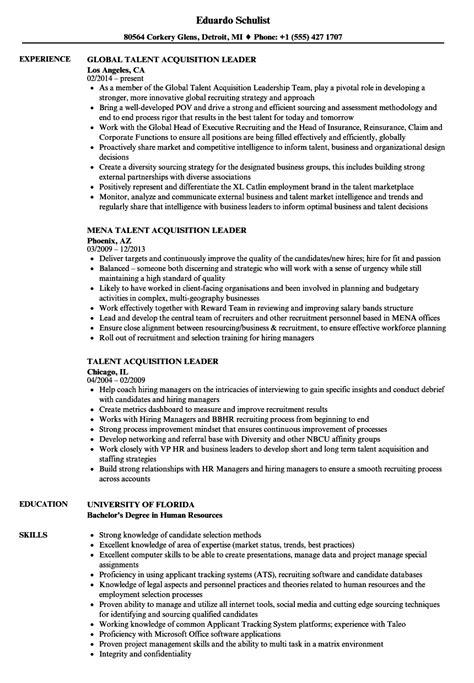 talent acquisition leader resume sles velvet