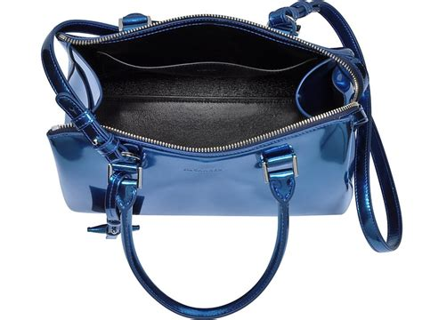 Jil Sander Work Size Patent Handbag by Jil Sander Blue Patent Leather Small Jil Bag At Forzieri