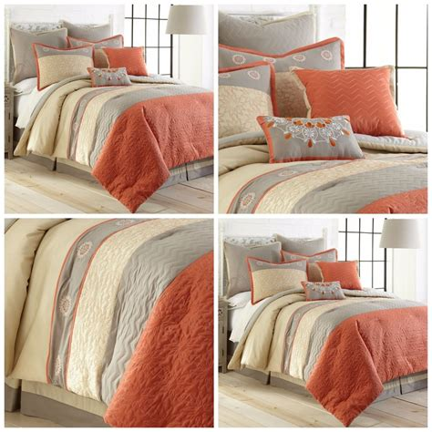 luxurious 8 piece comforter set orange gray king size