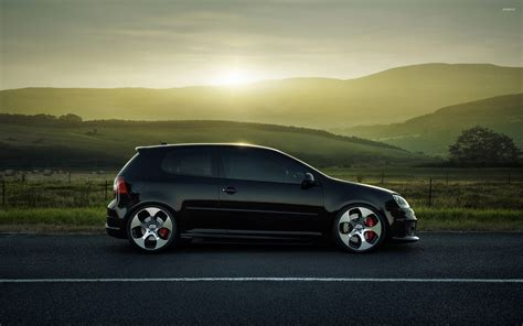 car volkswagen side view black volkswagen golf mk5 on the road side view wallpaper