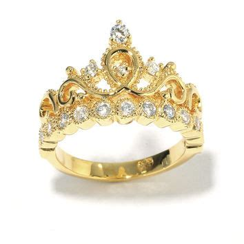 yellow gold plated sterling silver crown ring princess ring