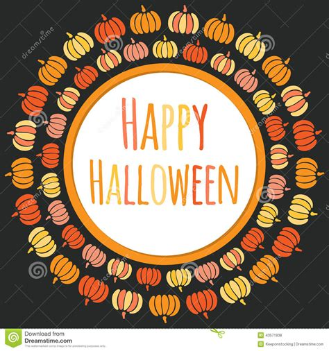 happy halloween round frame with colorful pumpkins stock