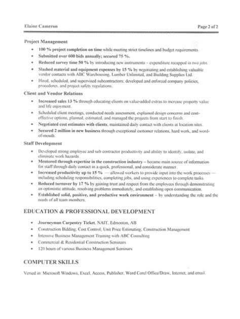 Construction Job Resume Sample
