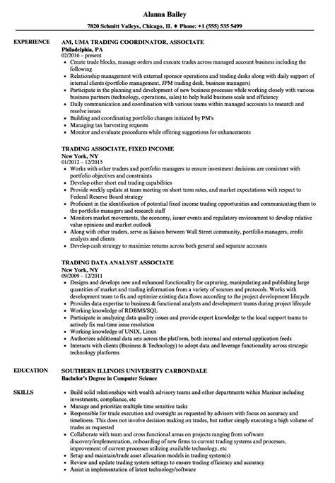 trading associate resume sles velvet