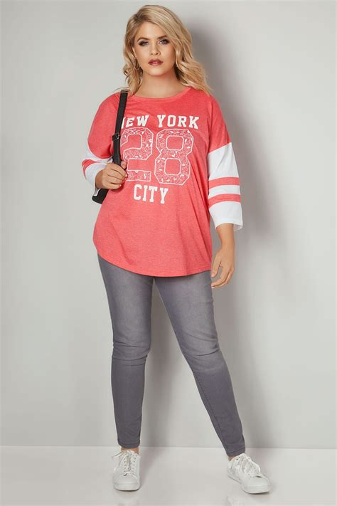 Android Sketch Raglan coral white new york embroidered raglan top plus size
