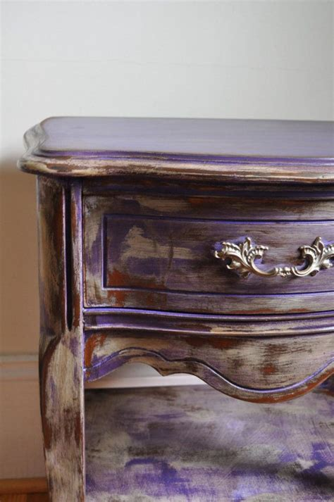 chalk paint purple purple chalk painted bohemian nightstand by