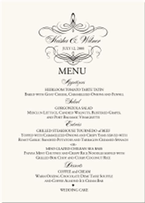 wedding menu cards dinner party menus custom designs