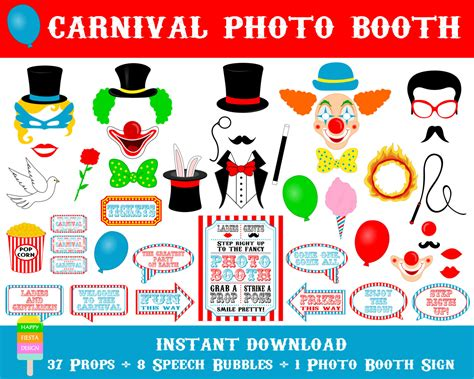 free printable photo booth props carnival printable carnival photo booth propscarnival photo booth