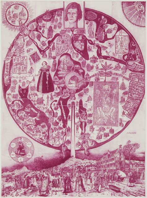 map world perry grayson perry etching acquired by grunwald center hammer