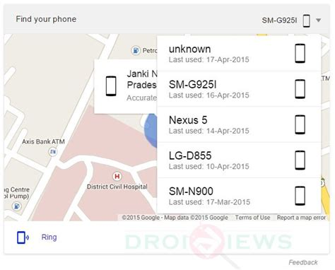 android locate phone remotely locate and ring your android device using search