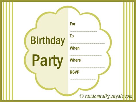 printable birthday party invitation cards free printable birthday invitations random talks