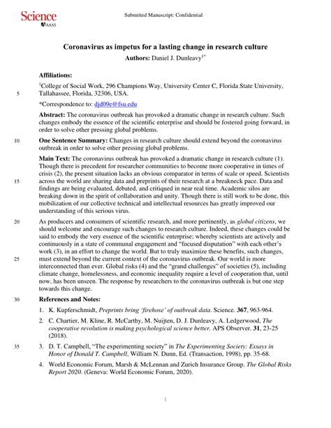 (PDF) Coronavirus As Impetus For a Lasting Change in