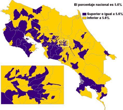 costa rica population density map costa rica dichtekarte